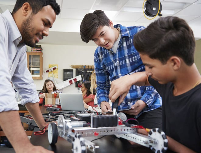 Pitsco Education, which marked its 50-year anniversary over the weekend, sells robotics sets like the one shown here, among many other science, technology, engineering and math (STEM) education products.