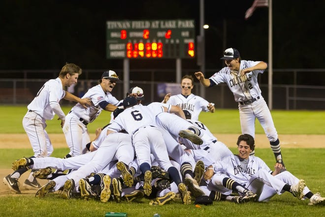Members of the Shrewsbury baseball team celebrate winning the Division 1 Central title in 2019.