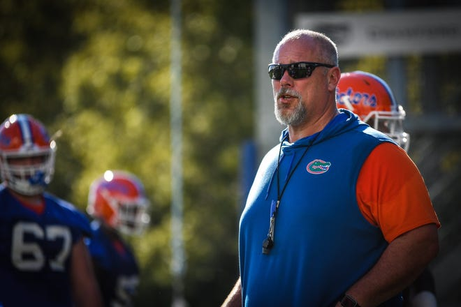 Florida offensive line coach John Hevesy is working with his unit and liking what he is seeing.