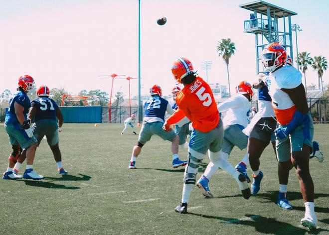 Florida quarterback Emory Jones lets one fly during an earlier practice.