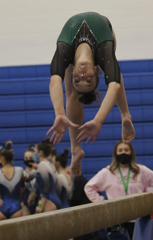 Jerome senior Izzy Willms competes in the team state meet March 5 at Hilliard Bradley. In the individual state meet the next day, Willms tied for 20th in the all-around with a score of 35.775.