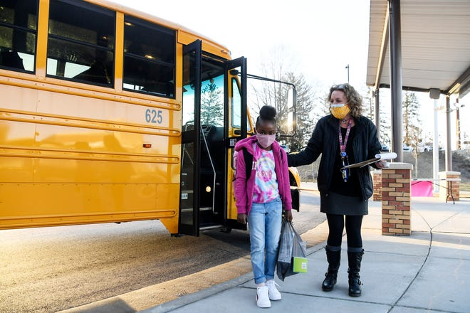 Students returned to in-person classes at Isaac Dickson Elementary in Asheville March 8, 2021.