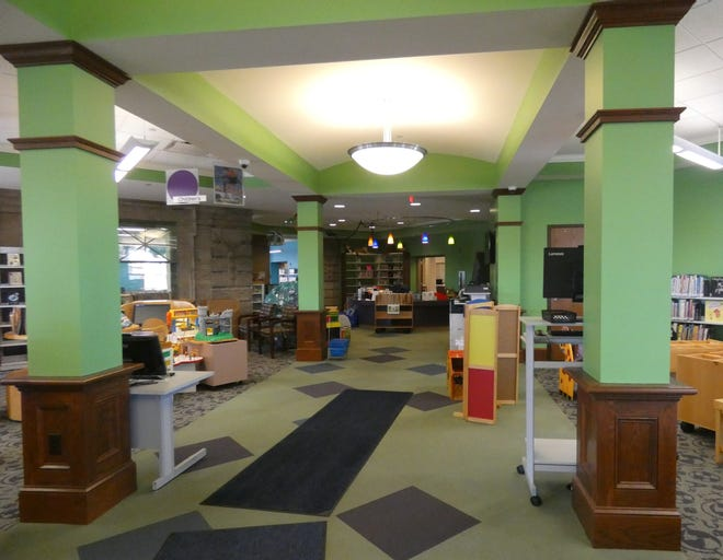 The children's room the the Bucyrus Public Library is now organic green.