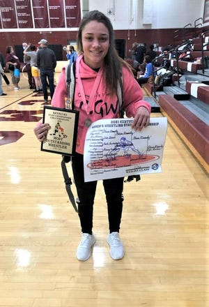 Ryle's Olivia Messerly won her third girls wrestling state championship March 6, 2021.