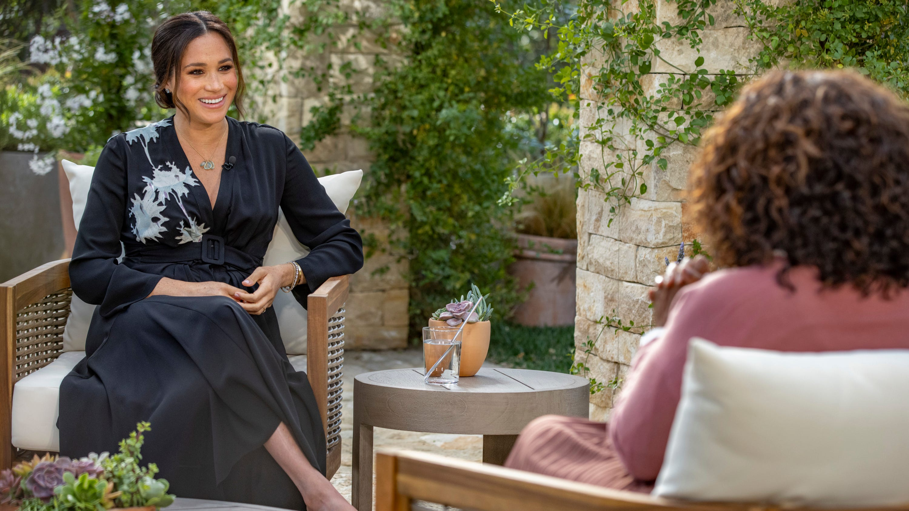 Meghan, Duchess of Sussex, left, speaking with Oprah Winfrey during an interview.