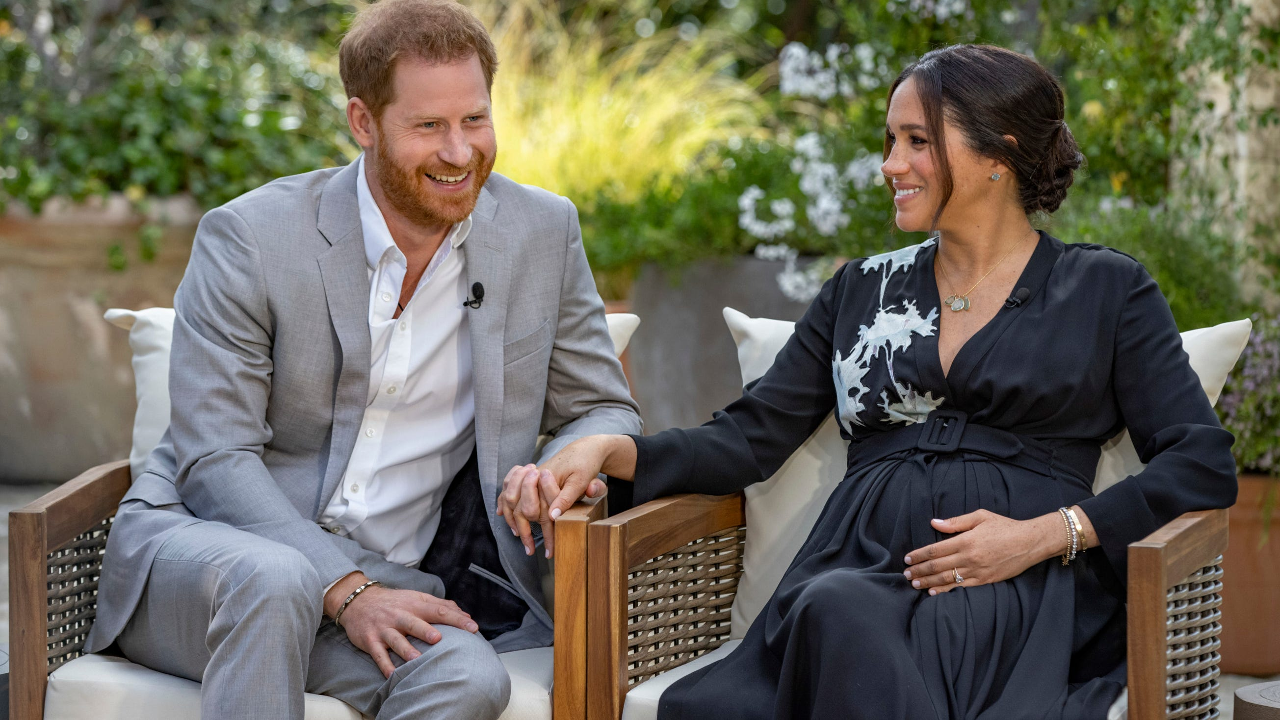 "Prince Harry, left, and Meghan, Duchess of Sussex, speaking about expecting their second child during an interview with Oprah Winfrey. ""Oprah with Meghan and Harry: A CBS Primetime Special."""