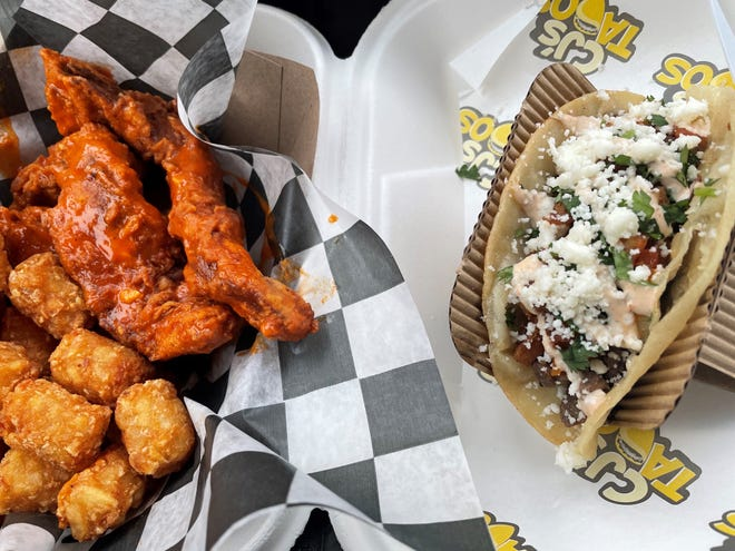 Grub Scout's recent visit to Central Filling Station included chicken tenders, with Buffalo sauce, from Wings on the Pig, and a pan-fried steak taco from CJ's Tacos.