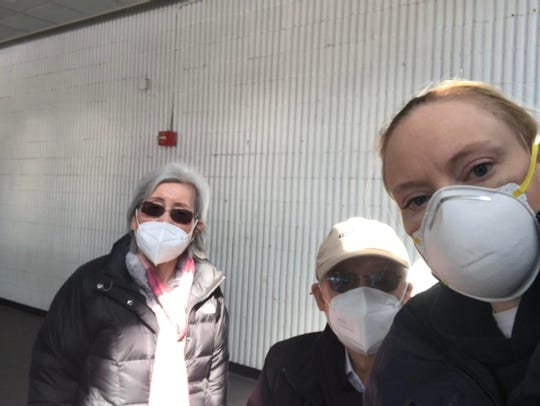 Dee Kalman on the right with Lydia Sohn's parents at the Meadowlands mega-site.