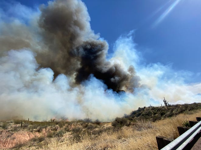 A photo of the pumpkin fire posted by the Arizona Department of Forestry and Fire Management via Twitter on March 8, 2021.