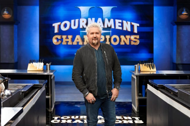 "Guy Fieri and his classic frosted tips are back to host ""Tournament of Champions II,"" airing Sundays on Food Network."