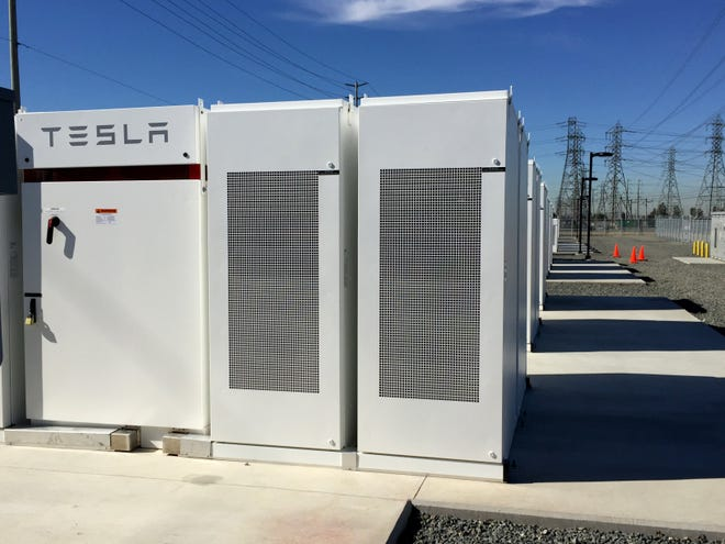 A Tesla battery bank is shown in Ontario, Calif. A Tesla subsidiary registered as Gambit Energy Storage LLC is quietly building a more than 100 megawatt energy storage project in Texas.
