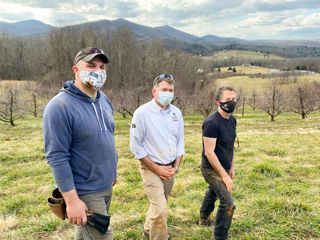 From left, Josh Fuder, Ray Covington and Stephen Mihm have been the University of Georgia's driving forces behind the creation of the Heritage Apple Orchard. (Photo by Mike Terrazas)
