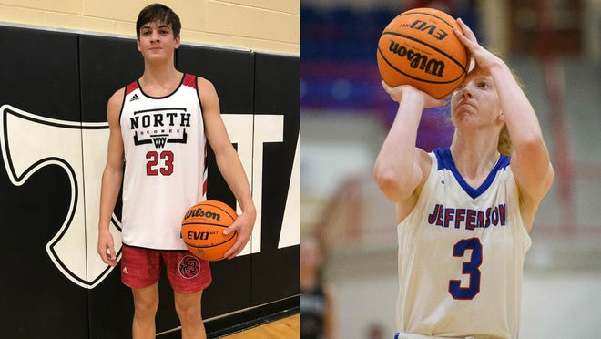 Wilson Sibley, left, will compete in the GHSA dunk contest on Saturday while Livi Blackstock will be in Friday's 3-point competition. (File photos)