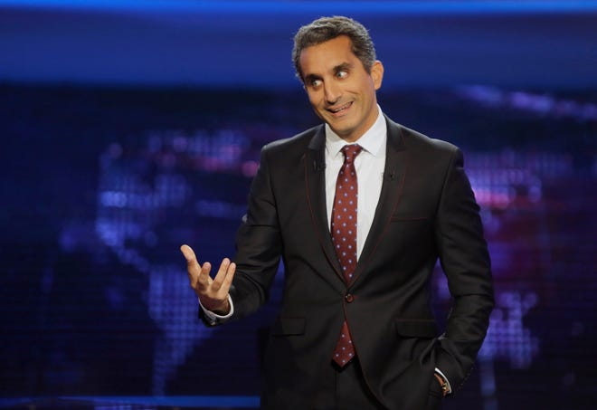 """Egyptian satirist Bassem Youssef, who is known as """"Egypt's Jon Stewart,"""" speaks during a press conference in Cairo, Egypt in 2014."""