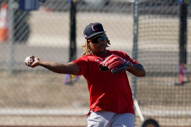 Cleveland third baseman Jose Ramirez is back in camp after being sent home for breaking COVID-19 protocols along with teammate Franmil Reyes. [Ross D. Franklin/Associated Press]