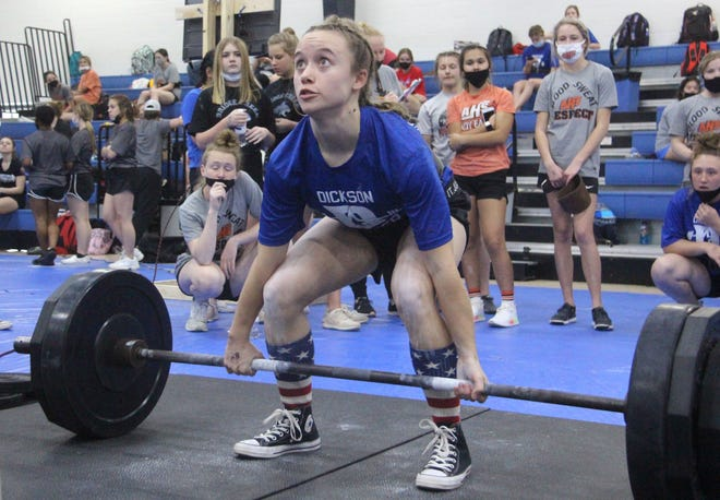 Dickson's Hallie Harrison finished fourth on Monday at the OGPCA Girls State Powerlifting meet at Dickson High School.