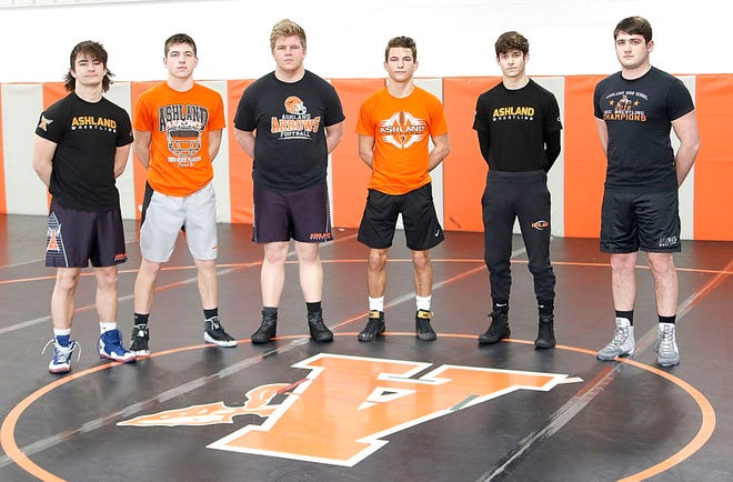 Ashland's (l-r) Chase Dillow, John Metzger, Jake Bever, Jayden Jones, Griffin Adkins and Jakob Beverly pose for picture in the wrestling room in the fieldhouse on Tuesday. Dillow is a state alternate, while the other five are state qualifiers.