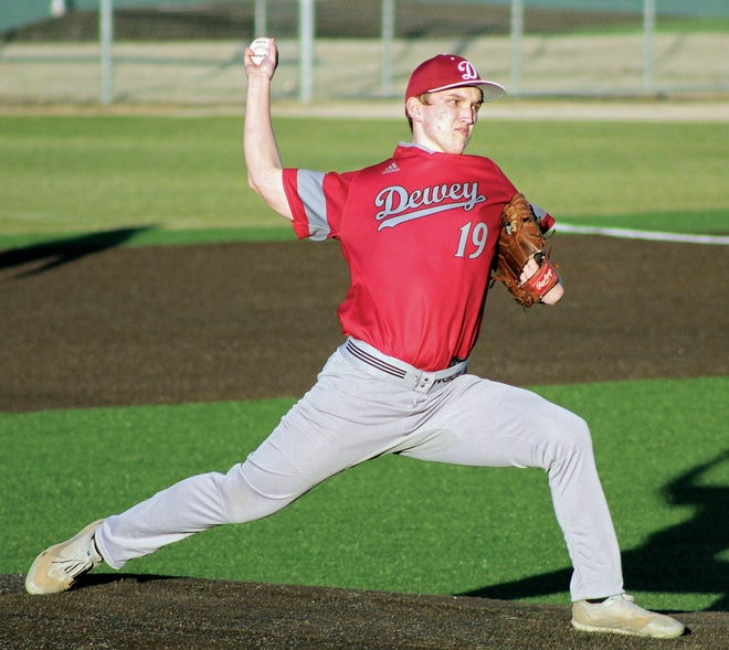 Dewey High pitcher Colin Friend makes a special delivery during baseball action earlier this season.