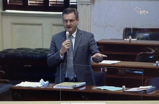 State Sen. Tom Davis discusses the Jasper Ocean Terminal during a Feb. 23 session in the South Carolina Senate.