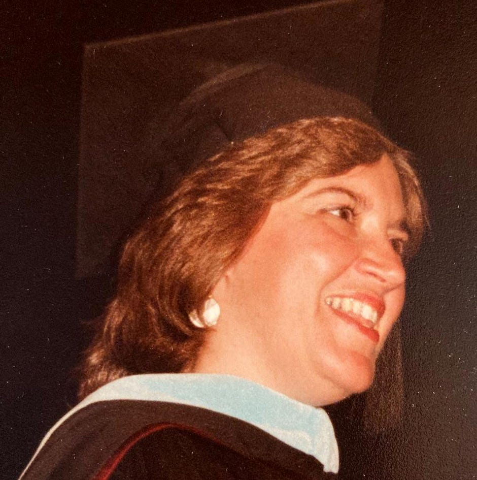 """Janice Lyman says her sister's graduation from Boston College in 1986 with a Doctor of Education degree was """"such a proud and happy moment for her family."""""""