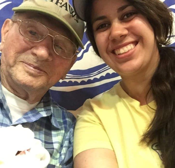 Raymond Buda with his granddaughter Amy Johnson