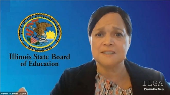 Illinois State Board of Education Superintendent Carmen Ayala addresses a House education appropriations committee Monday in a virtual hearing. ISBE requested a $400 million increase in funding.