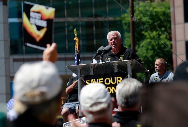 Mike Walden, Teamster retiree and president of the National United Committee to Protect Pensions, speaks to the crowd while appearing in support of pensions during a rally at the Ohio Statehouse in 2018.