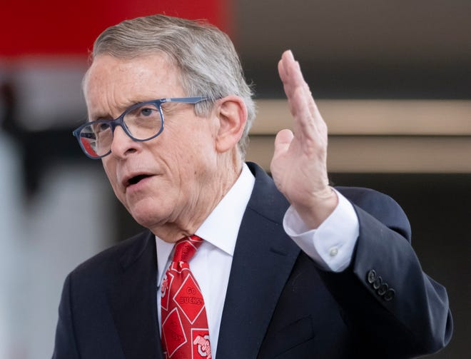Gov. Mike DeWine speaks to media after touring the COVID-19 mass vaccination facility set up at Ohio State's Schottenstein Center in Columbus on Tuesday, March 9, 2021.