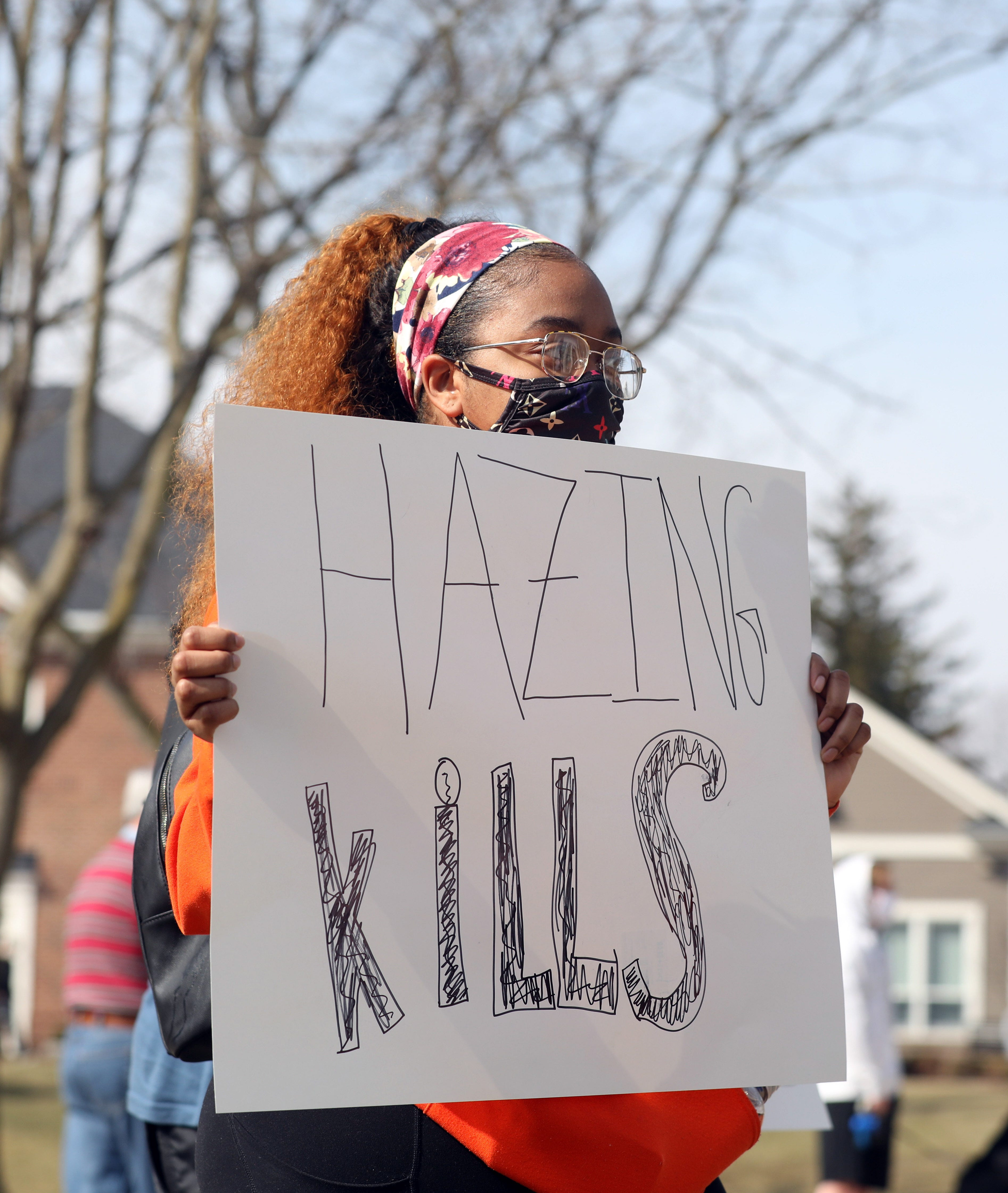 BGSU student Aarian Lynn protests after a Bowling Green State University students died in an alleged hazing incident.