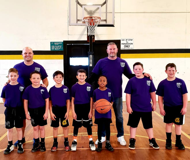 Arcadia was the runner-up in the Arcadia Basketball League 2-3 Gold tournament. Team members are coaches David Beasley, David Ladd;(players, from left) Max Jackson, Gavin Beasley, Levi Weldon, Porter Walser, Jeremy Transou Jr, Cole Steele and Braxton Ladd. [Contributed photo]