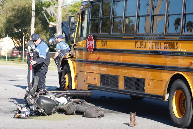 A motorcyclist was seriously injured March 9 in a crash with a Volusia County school bus in Daytona Beach, officials said. There were 14 Mainland High students on the bus. None were hurt, but it was a deadly Bike Week for motorcyclists this year. At least seven people died and record 91 trauma patients were admitted to Halifax Health Medical Center, the area's only trauma center.
