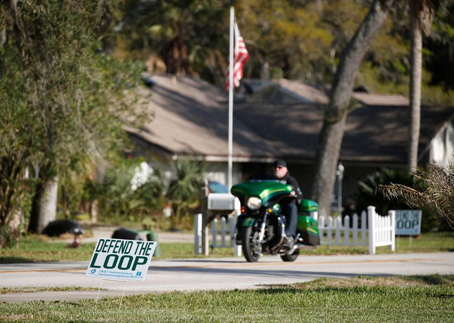 Motorcyclist ride towards The Loop in Ormond Beach, Monday, March 8, 2021.