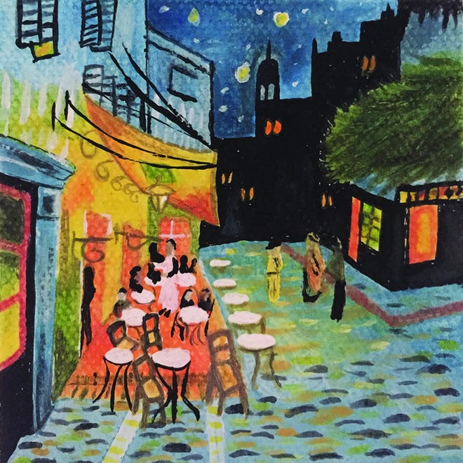 """Rendition of Vincent Van Gogh's """"Café Terrace at Night,"""" by one of Arts & Education at the Hoyt's 2020 Mini Masterpiece award winners, Jessie Beatty, 16, on 3""""x3"""" canvas."""