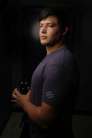 Iowa Wesleyan University wrestler Brendon Lunsford, Monday March 8, 2021 at the Willis Wrestling facility in Mount Pleasant.
