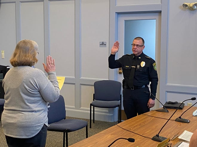 Ralph Leblanc is sworn in as Westminster police chief on Monday, March 8.