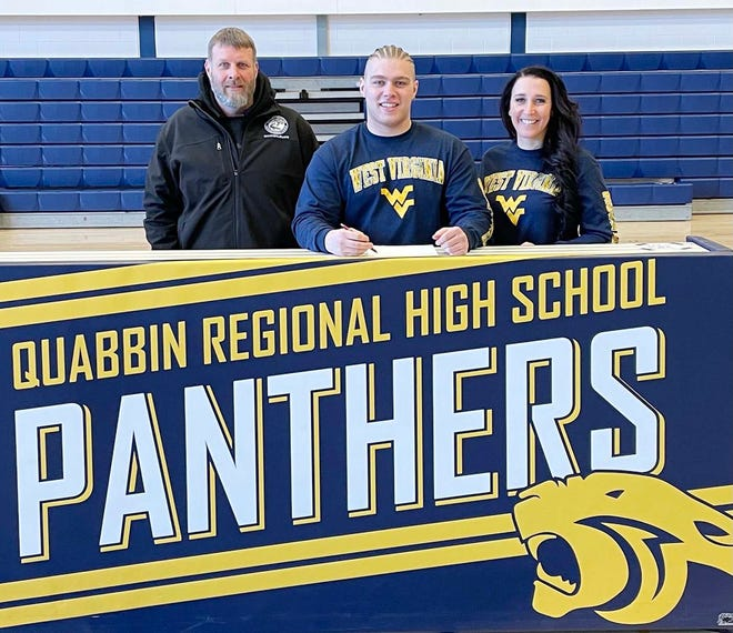 Quabbin Regional senior Tristan Kemp became the first member of the Panthers wrestling team to make a Division 1 college commitment when he recently signed a National Letter of Intent to attend West Virginia University. Joining him at the signing ceremony were his parents, Scott Kemp and Kelly Smichinski.