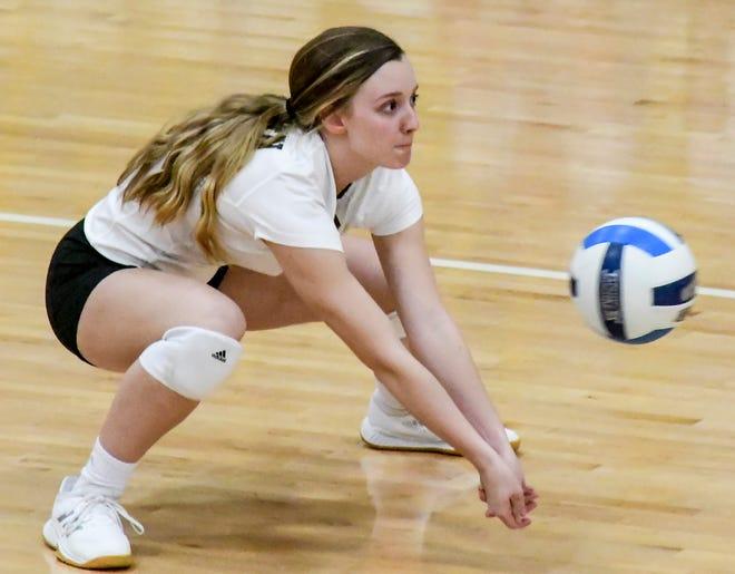 Garden City Community College's Emmah Sultz digs a Pratt serve during a match last week at Perryman Athletic Complex.