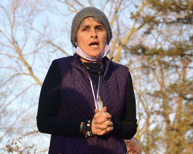 Belinda Coronado speaks at an event honoring International Women's Day in Centennial Park on March 8, 2021.