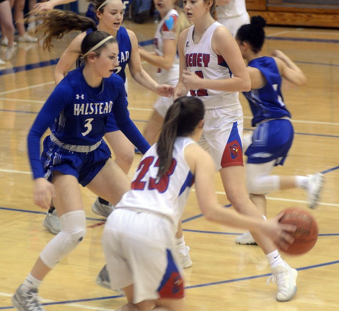 Halstead player Kaleigh O'Brien guards Cheney junior Brynn McCormack during Class 3A state quarterfinal play Monday in Cheney. O'Brien scored 22 points in a 51-50 double-overtime loss to Cheney.