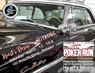 Plainview Downtown is hosting Heart's Desire & Hotrods in Plainview's downtown historic district on Saturday.