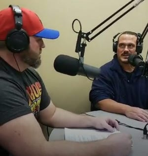 """Local event promoter Gary Pillette (left) and wrestling star Terry """"Rhino"""" Gerin recently celebrated the one-year anniversary of their podcast."""
