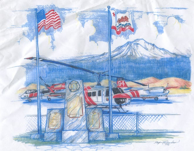 An artists rendering of what the Fallen Hero Memorial will look like near the Weed Airport.