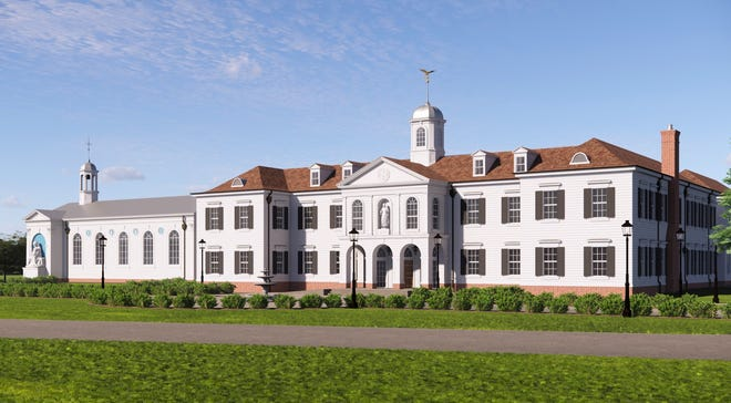 A rendering of the front of St. Benedict Classical Academy building.