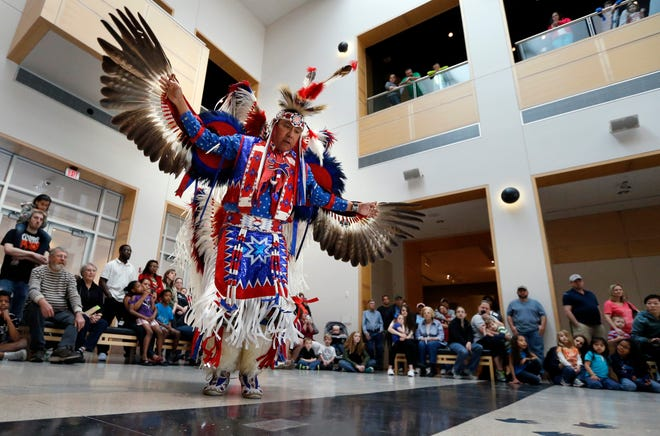 Kevin Connywerdy does an eagle dance as the Oklahoma Fancy Dancers perform at the Sam Noble Museum's during a Spring Break function in Norman. [The Oklahoman Archives]