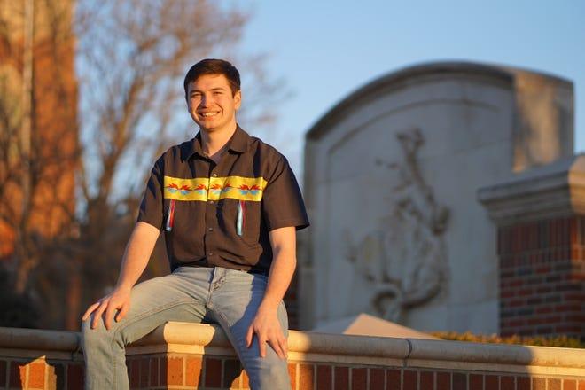 "Dacoda  McDowell-Wahpekeche, a student at Northwestern Oklahoma State University, wears a ""business casual"" ribbon shirt that his grandma made."