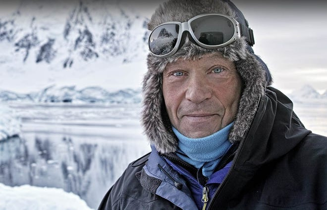 Robert Swan is all ready for exploring as the ship carrying him and his team arrive off Antarctica in 2017.