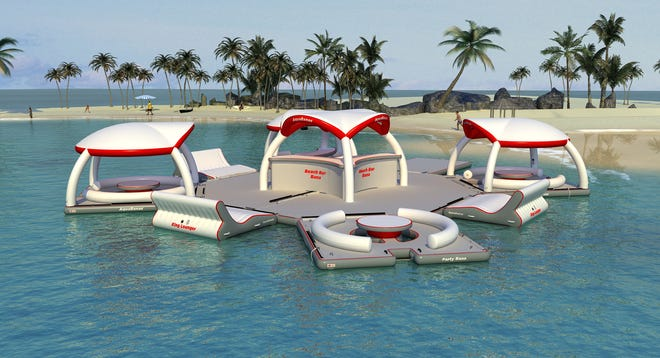Aquabanas comes with inflatable components that can be configured to create a floating bar, picnic area, or a  private pool.