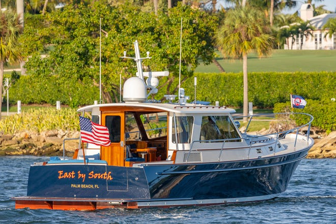 The custom Bruckmann Abaco 47-foot boat, East by South, is offered for sale at $1.695 million.