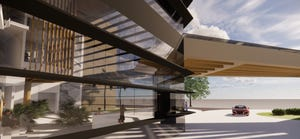 Exterior rendering of Beacon Pharmaceutical's proposed biotech incubator and manufacturing facility in Jupiter. Courtesy of Leo A. Daly Planning Architecture Engineering Interiors.