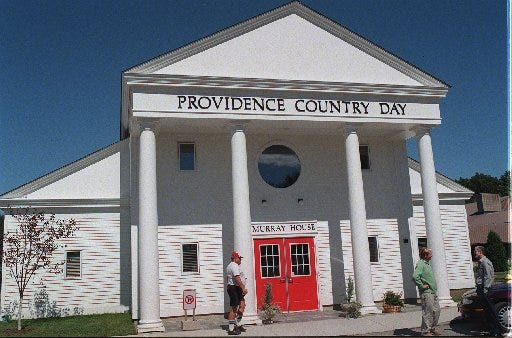 The administration building at Providence Country Day School. Providence Country Day School will absorb the Henry Barnard School, which was faced with closing.